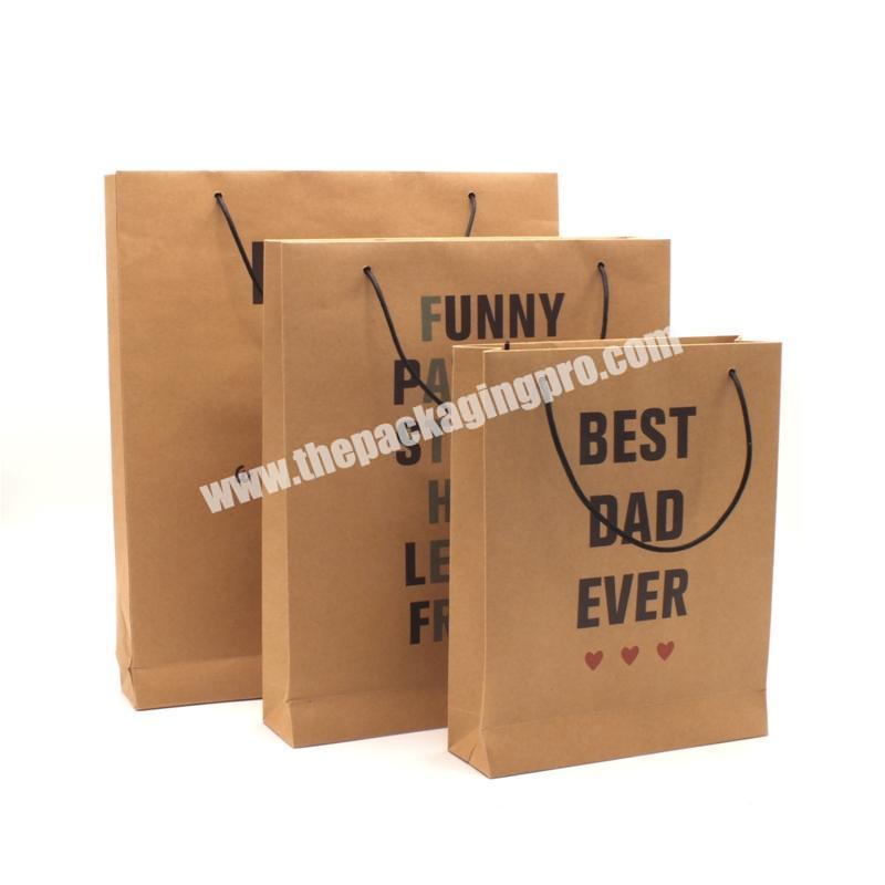 Shop Packaging Cheap Bag Gift Custom Printed Brown Kraft Paper Carrier Fashion Shopping Beach Bags