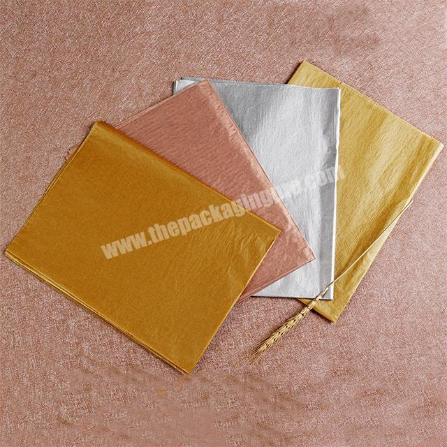 Manufacturer 17g tissue wrapping paper metal color series rose gold pure gold 50 x 70cm silver paper