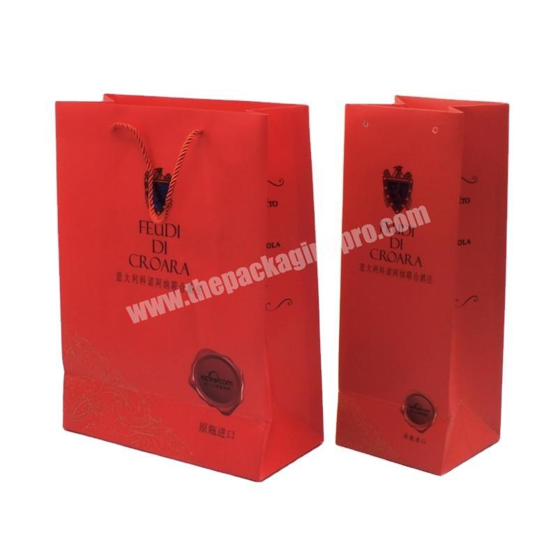 Wholesale Handmade decorative standard custom shopping paper cloth and wine packaging bag for gift