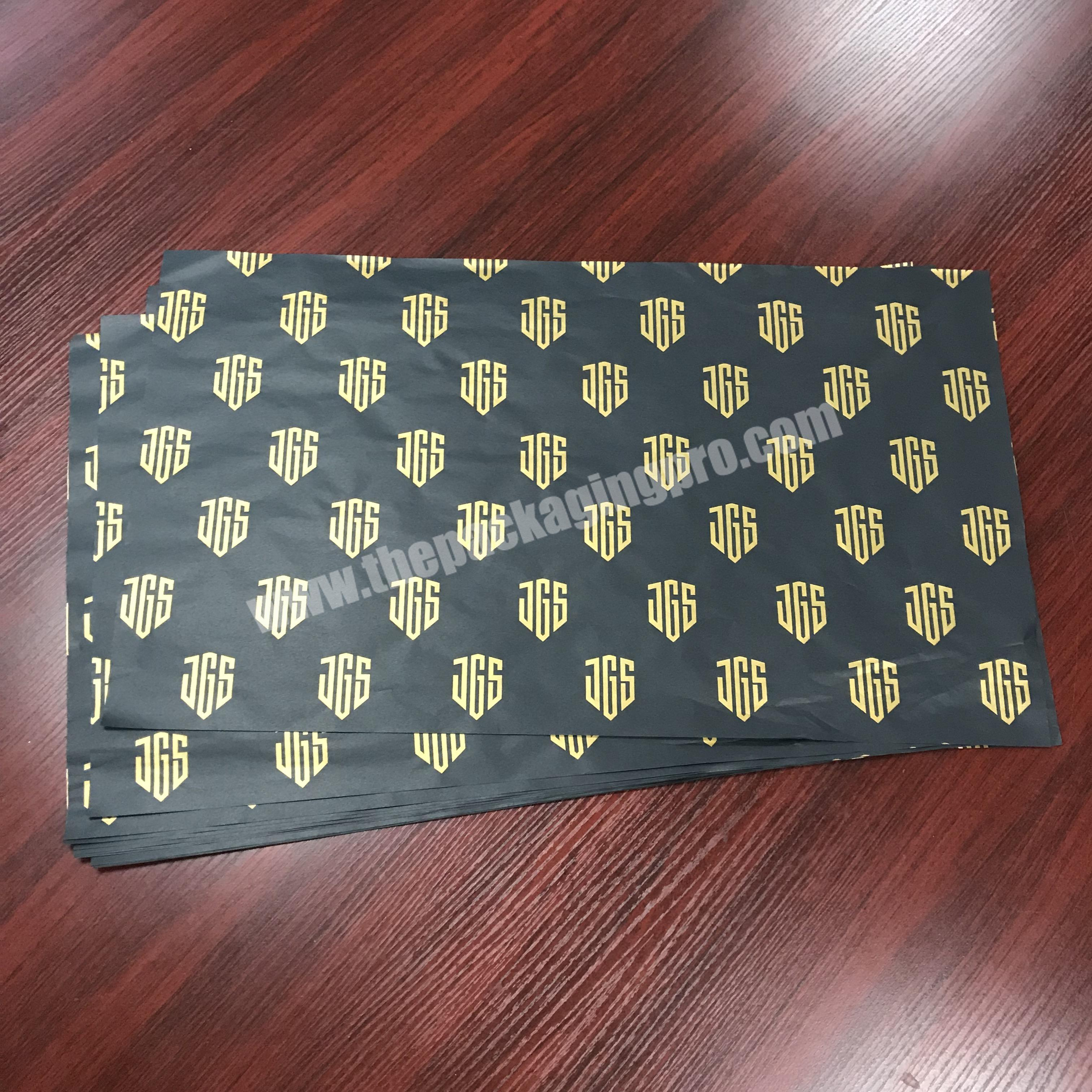 Wholesale Luxury custom logo printed black wrapping tissue paper  silk wrapping paper