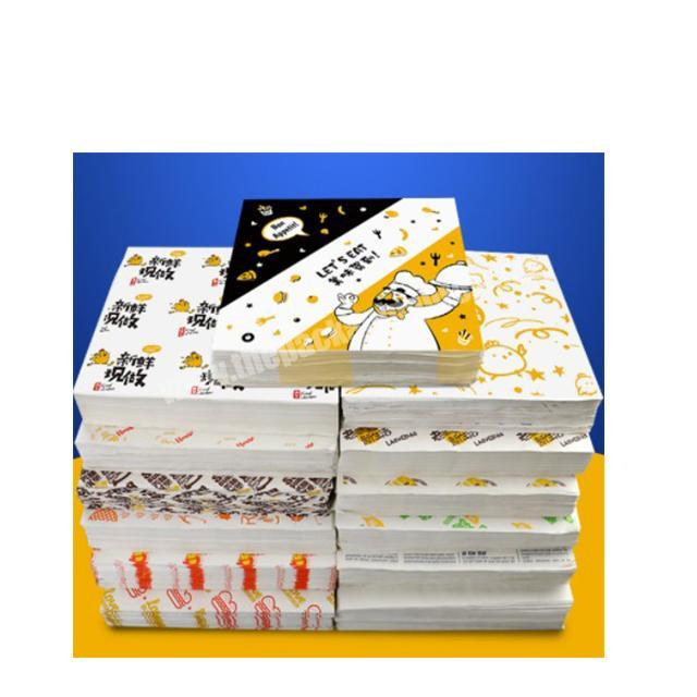 Customized printing cheap food grade sandwich wrapping wax paper hamburger packaging paper