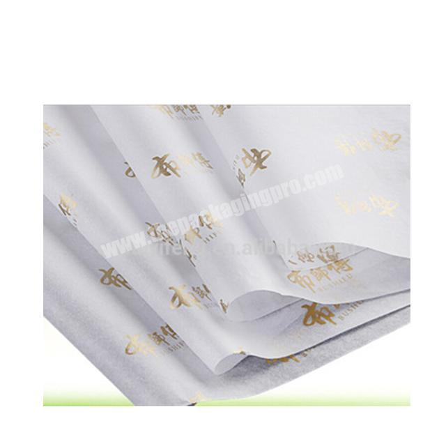 Custom gold logo on the white 17gsm mg acid free color tissue paper for clothes wrapping packaging