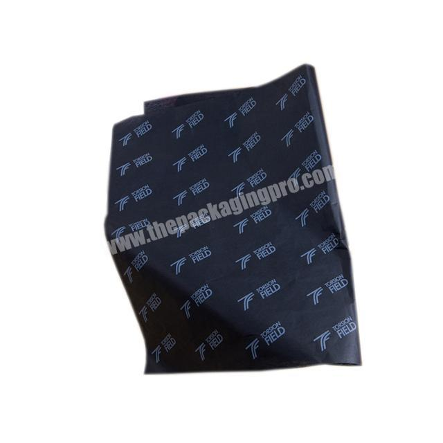Wholesale 17gsm black tissue paper white LOGO printed clothing shoes wrapping paper leather packaging