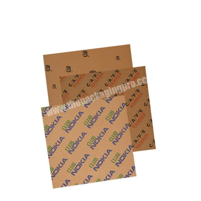 recyclable kraft paper brown tissue paper with black logo for shoes packaging soap wrapping