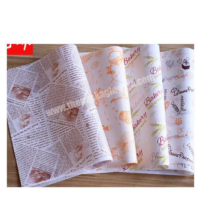 Custom Factory wholesale food packaging paper fast food wrapping paper wax paper for hamburger fried chicken