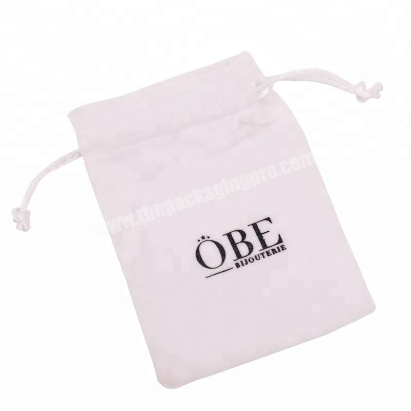 Wholesale High Quality customized logo silver hot stamping velvet cosmetic bag  for jewelry
