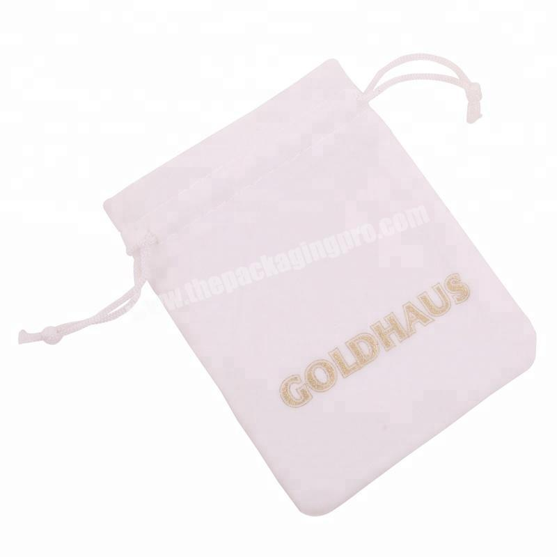 Factory High Quality customized logo silver hot stamping velvet cosmetic bag  for jewelry