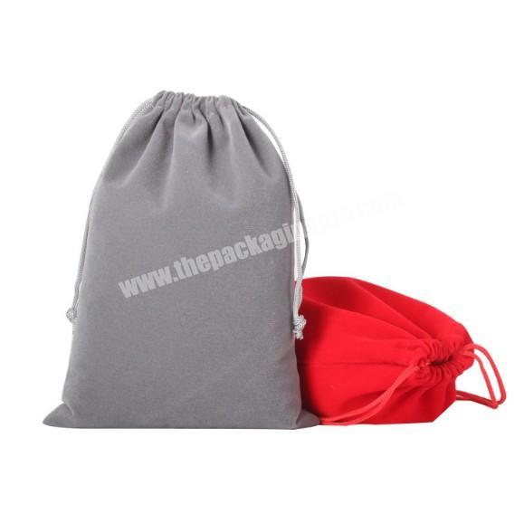 Factory Small MOQ custom suede velvet gift drawstring pouch bags for promotional