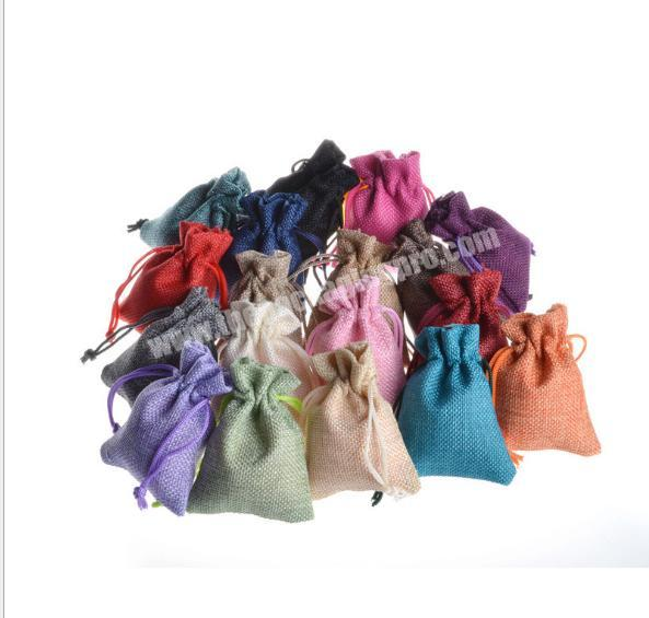 Wholesale Custom logo printed linen jewelry gift drawstring bag pouch