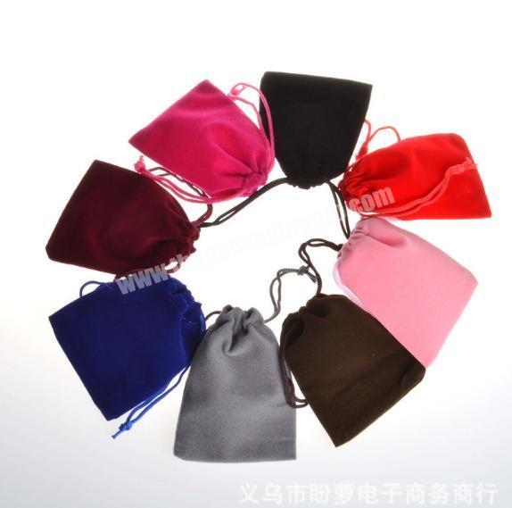 Custom logo printed velvet jewelry gift drawstring bag pouch