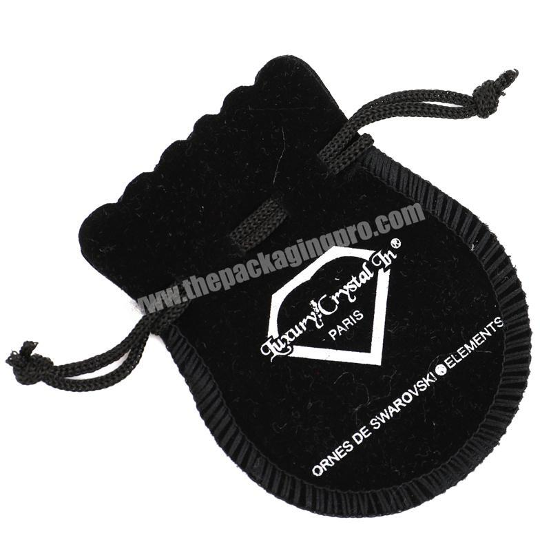 Round black jewelry velvet pouch gift bag drawstring for jewelry packaging