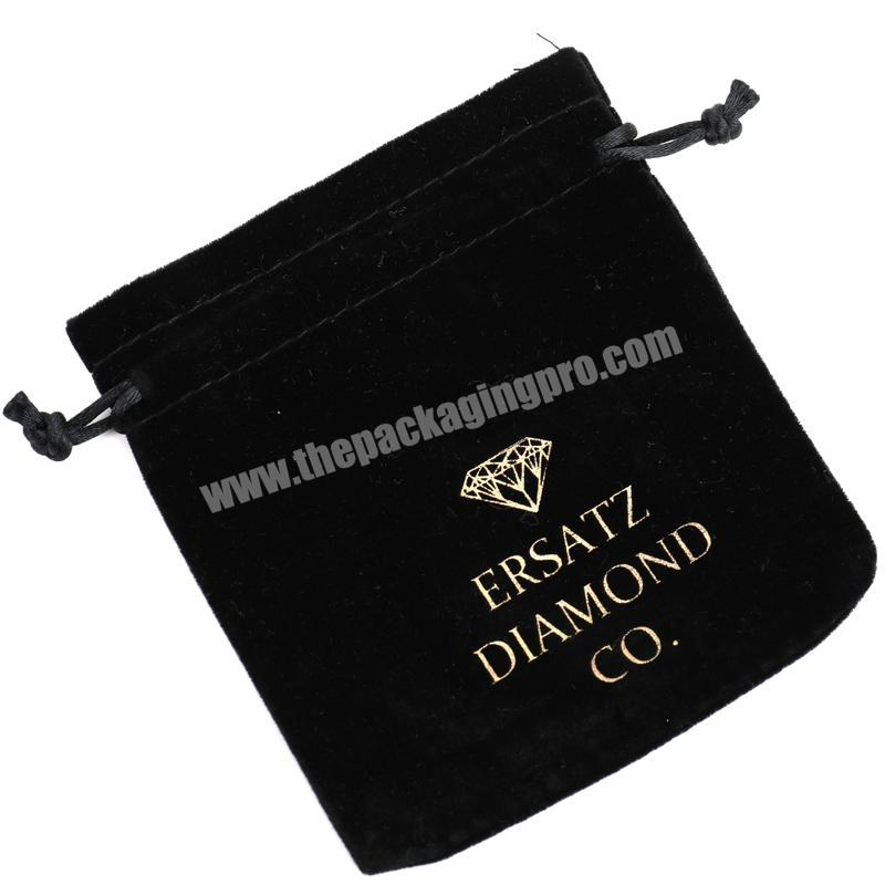 Factory Black Jewelry Velvet Pouch Bag Drawstring With Logo Hot stamping