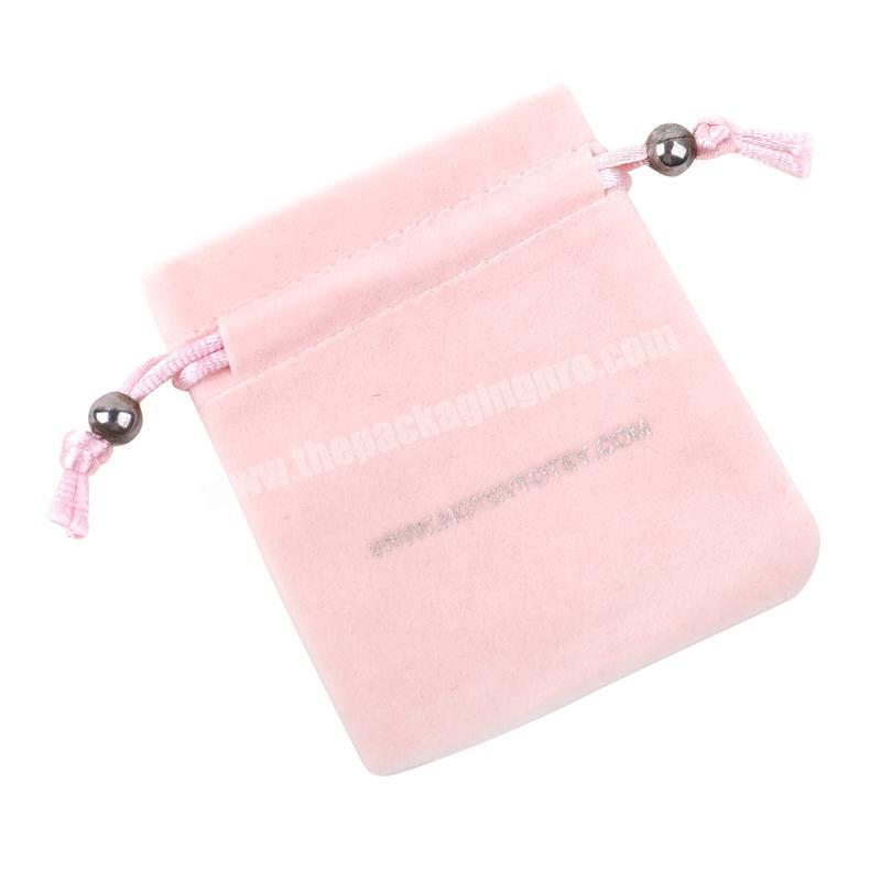 Yiwu factory price pink velvet drawstring jewelry bag pouches with customized logo