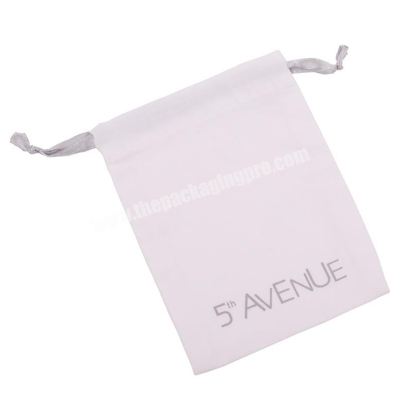 White Fashion Hot Stamped Logo String Velvet Jewelry Pouch Bags