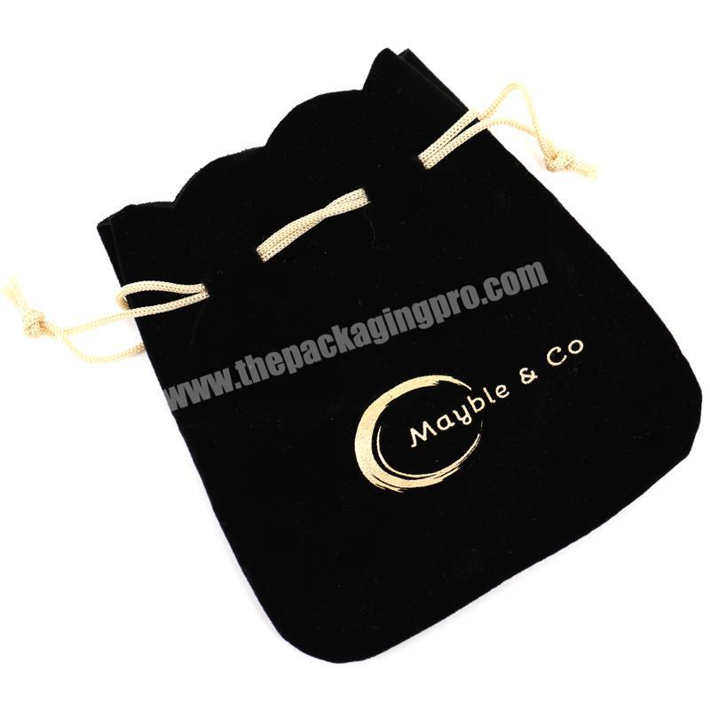 fashion black Jewelry Pouch Velvet Gift Bag with gold Logo Hot stamping Round