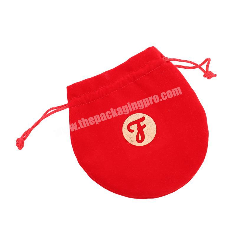 High Quality Soft Drawstring Red Velvet Gift Pouch With Gold Printing For Pristine Beaute Gift Pouch
