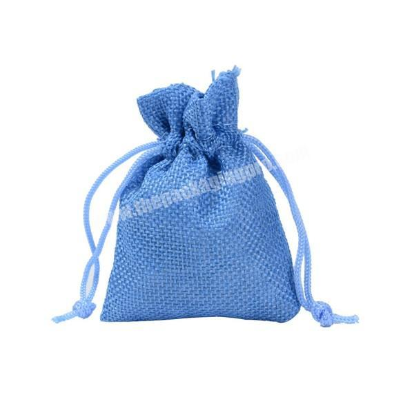 Supplier Custom logo printed linen jewelry gift drawstring bag pouch