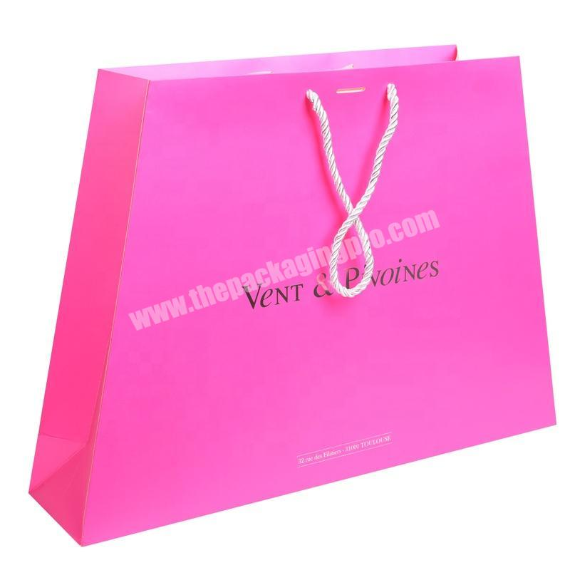 Cotton rope handle pink color printed paper shopping bags with logos
