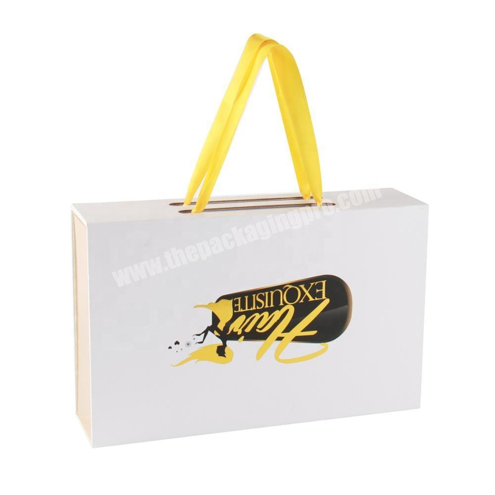 Luxury Customized Printed Pack for Shoes/clothing Box Cardboard Box for Book Shaped Box with Handle Gold Ribbon Whole Sale
