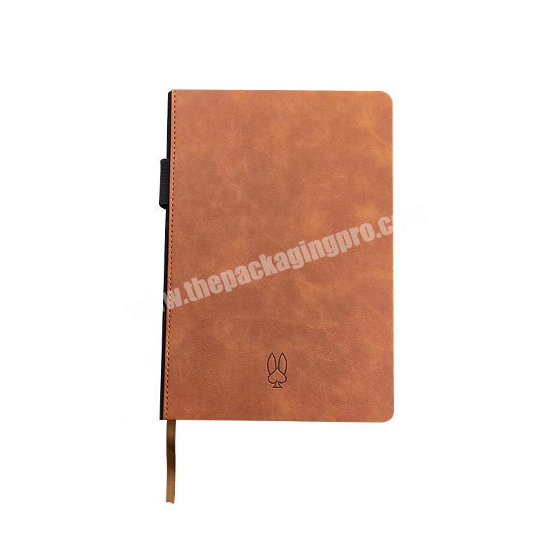 High Quality Academic A5 Printed Logo Customized PU Leather Diary 2021 Daily Monthly Planner Journal Hardcover Notebook
