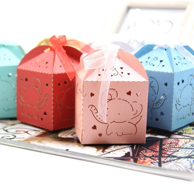 20PCS Cute Elephant Candy Box DIY Paper Gift Boxes Party Favors For Kids Birthday Wedding Decoration Baby Shower Supplies