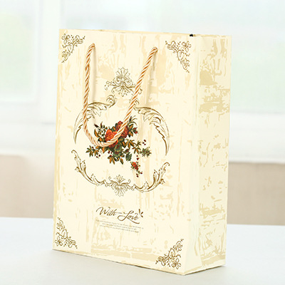 22*22.5*9cm 5pcs paper bag rose design with Portable rope gift packaging birthday party candy holding