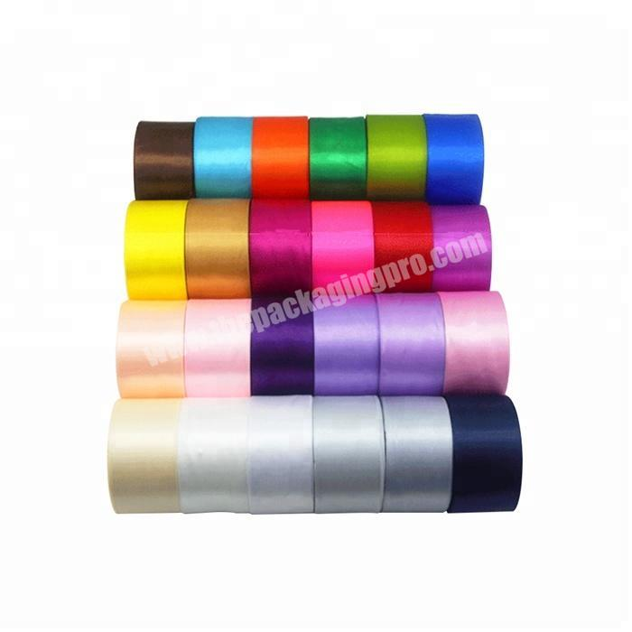 25mm  wholesale  handmade cheap  colorful polyester double face satin ribbon