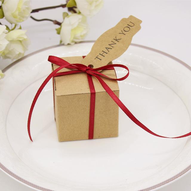 50pcs Natural Kraft Gift Box With Ribbon And Card Wedding Decoration