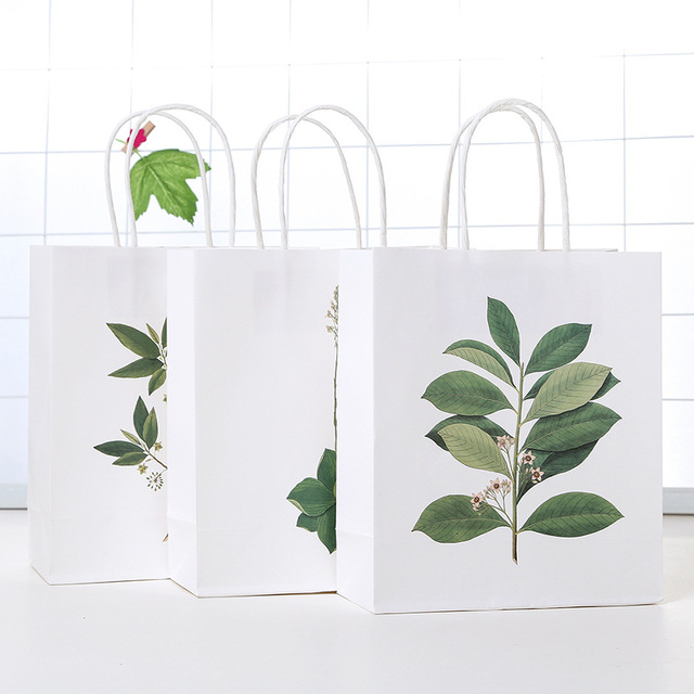 9 Pcs Hand Painted Plants Pattern Deisgn Paper Bag Gift Packaging Birthday Party Candy Holding