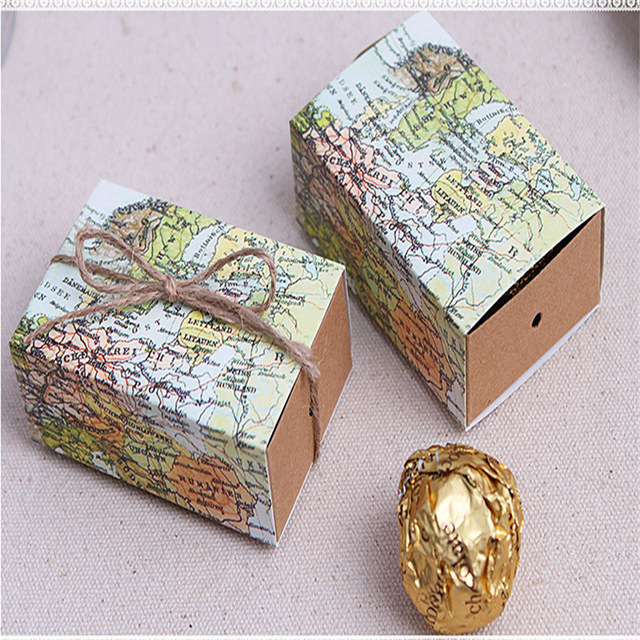 World Map Party Supplies.Hot 10pc World Map Candy Box Paper Boxes Wedding Favors And Gifts