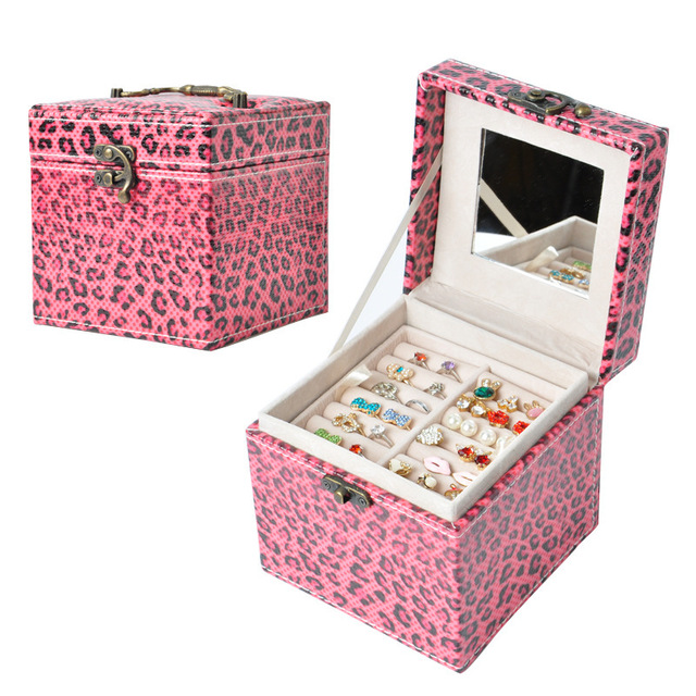 Jewelry Box 3 Colors Fashion Vintage Style Two-tier Multideck Storage Cometic Carrying Cases Box WEIXUANYA
