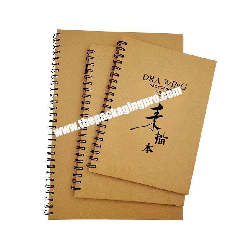 Wholesale A3 A4 Customized Thick Kraft Black Paper Cardboard Hardcover Sketchbook Notepad Spiral Double Ring Binding Refillable Notebook
