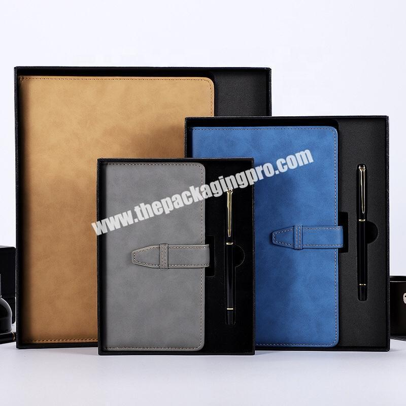 A4 A5 A6 Customized Notebook Pen Gift Set Black Blue Brown Business Journal With EVA Foam Insert Box Promotion Gift Notebook Set