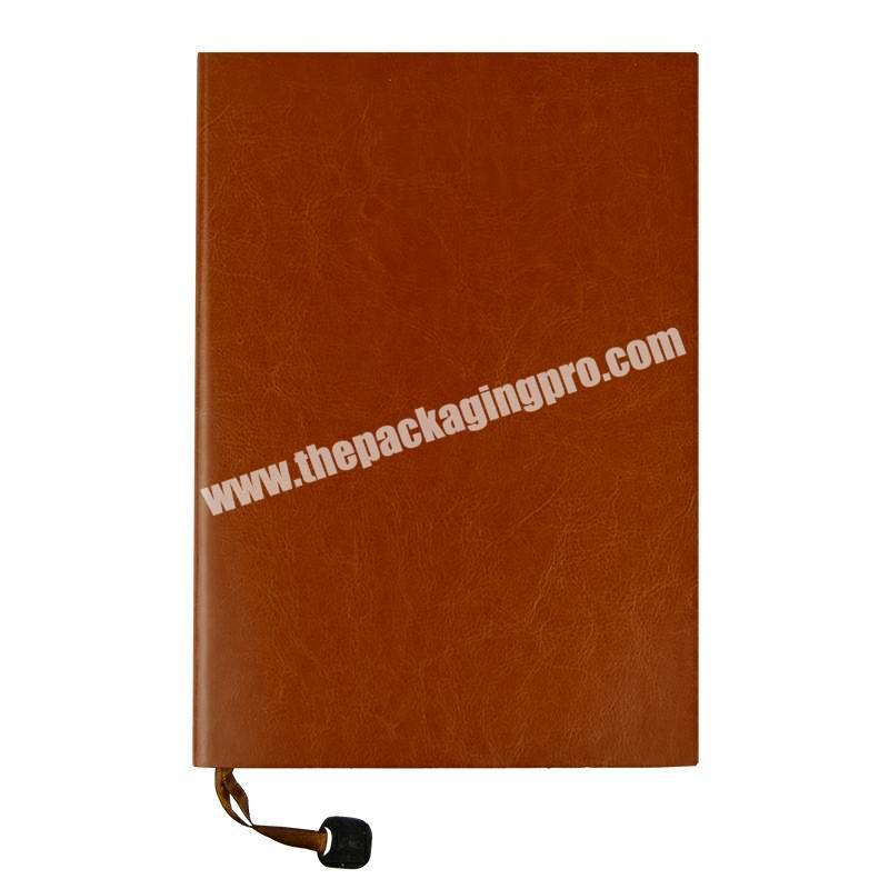A5 Soft Cover Leather Bound Notebook Note Book Eco-friendly Woodenfree Paper Sewing Binding Journal Planner Engrave Metal Logo