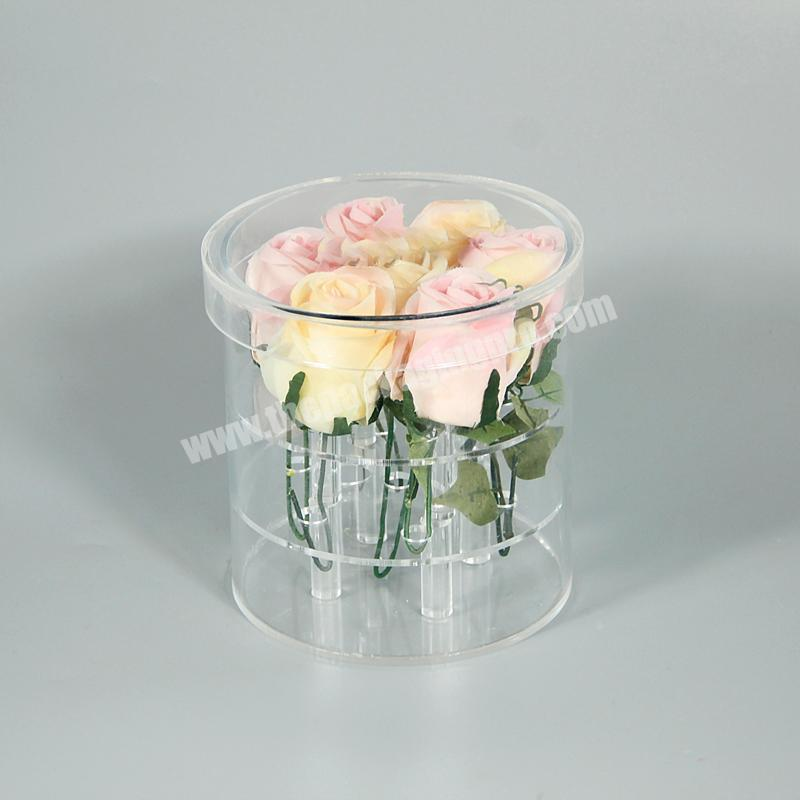 Acrylic 3 layers round fresh flower display decorative packing box wholesale