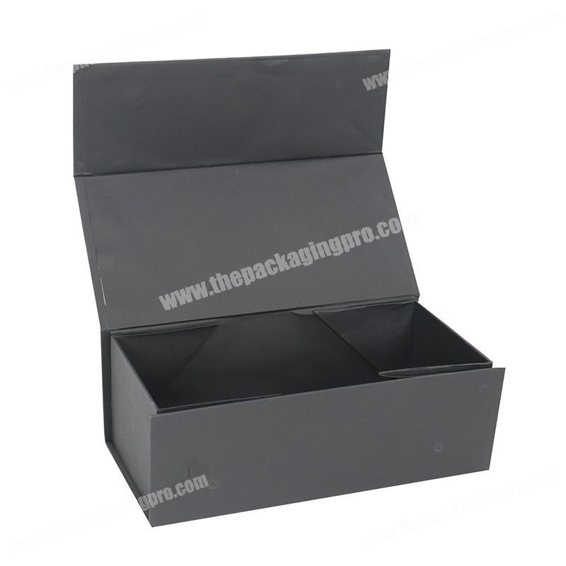 All black magnetic small high end gold foil ribbon book style gift packaging folding box