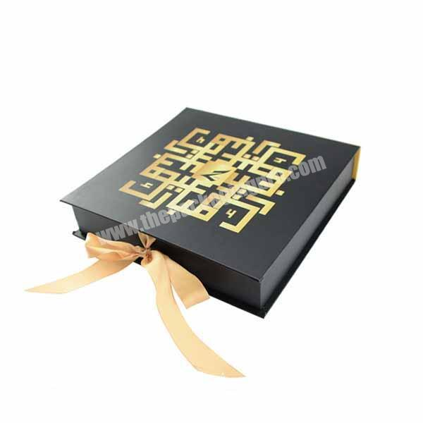 Beautiful ribbon closure paper box packaging for gift promotion