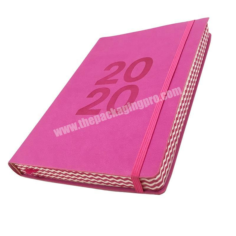 Best Selling  PU Leather Embossed Logo Notebook Soft Cover Edge Printing Diary