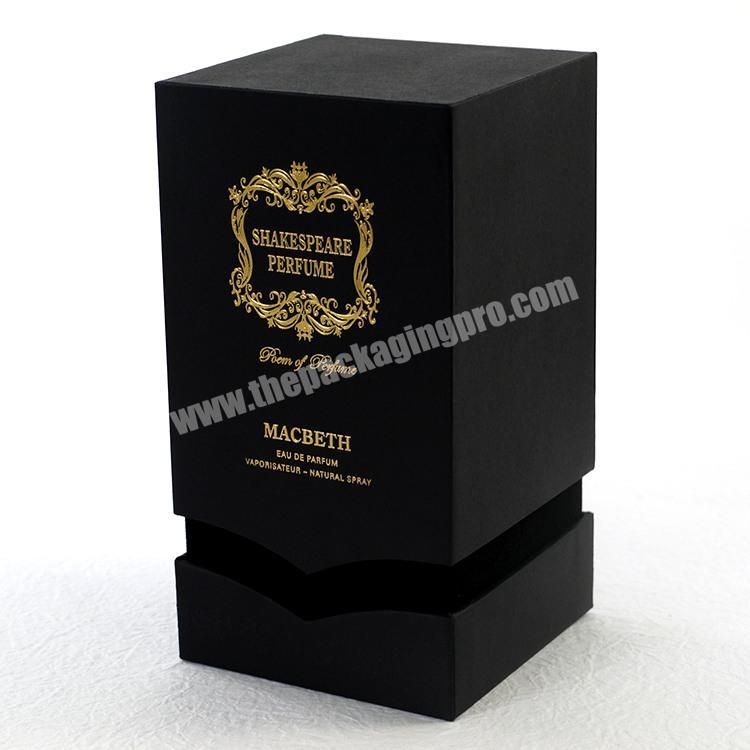 Black base and lid velvet perfume box package with foam insert for bottle