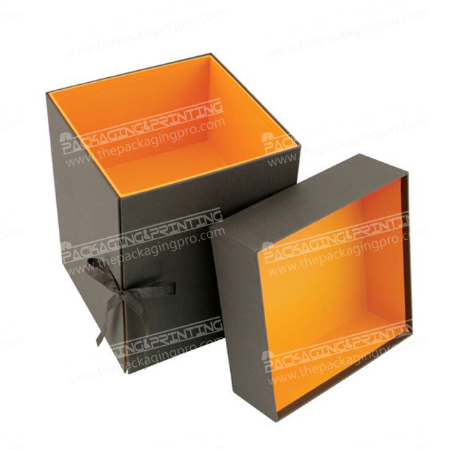 Black Color Inside Orange Color Box With Lid and Drawer