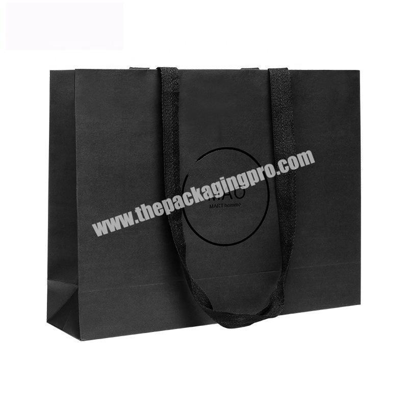 Black Eco Paper Shopping Bags In a Black Finish With a Cotton Twill Handles