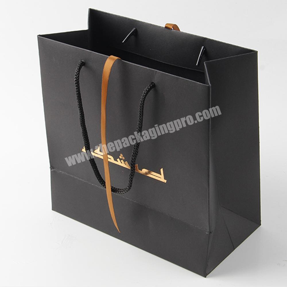 Factory black gift bag with logos custom printed for jewelry