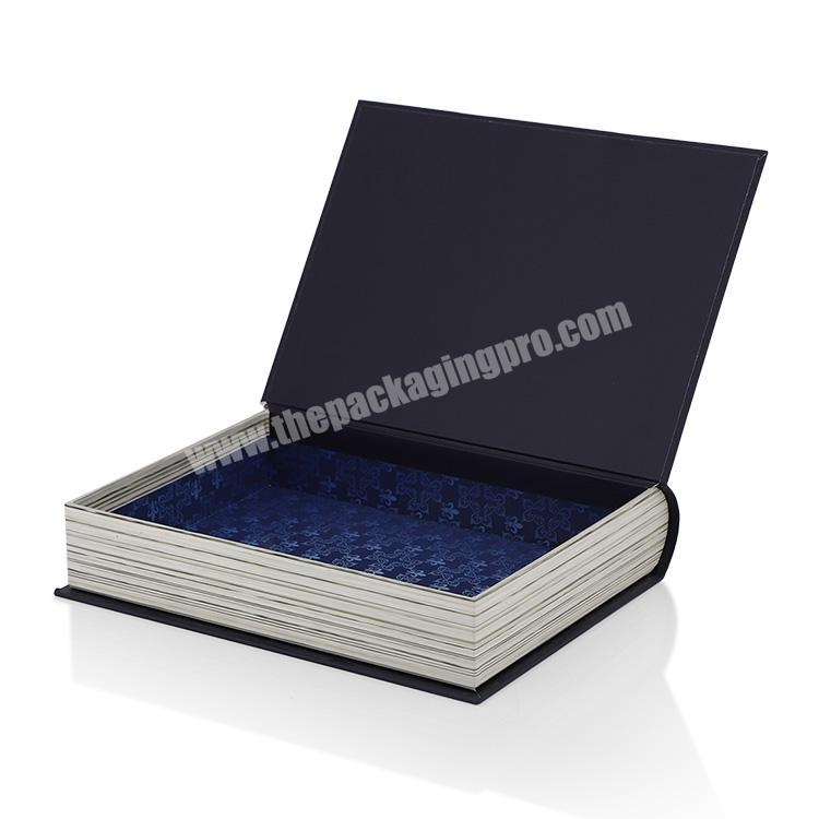 Supplier Black Gold Foil Book Shape Style Gift Packaging Box Luxury