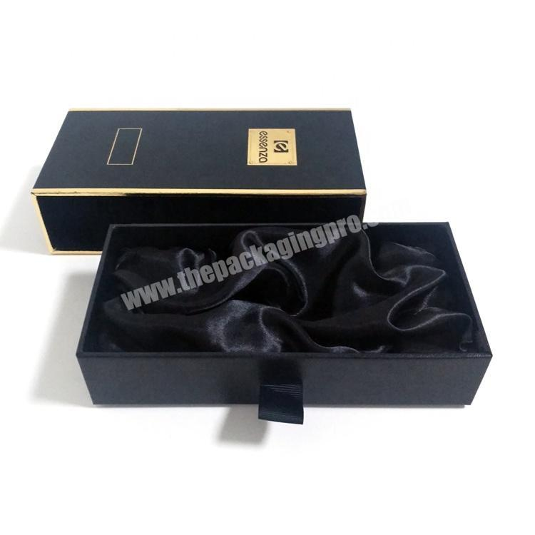 Manufacturer Black Gold Stamping Drawer Coated Paper Box For Luxury Gift Perfume Packing