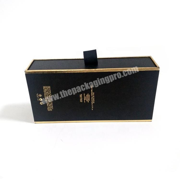 Shop Black Gold Stamping Drawer Coated Paper Box For Luxury Gift Perfume Packing