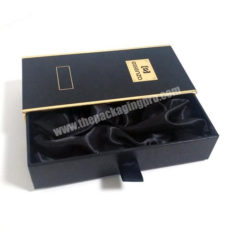 Wholesale Black Gold Stamping Drawer Coated Paper Box For Luxury Gift Perfume Packing
