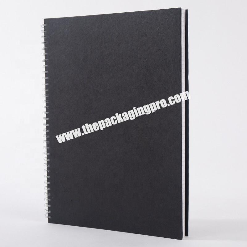 Black Kraft Hard Paper Cardboard Cover Business Academic Journal Office School Exercise Book Grid Squared Coil Spiral Notebook