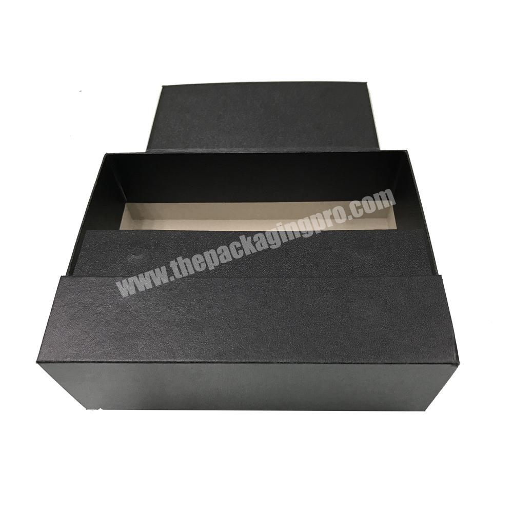 black leatherette paper custom flip top box packaging cardboard with magnetic catch