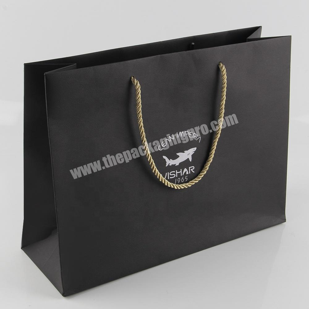Supplier black matte paper tote packing bags for jeans clothing
