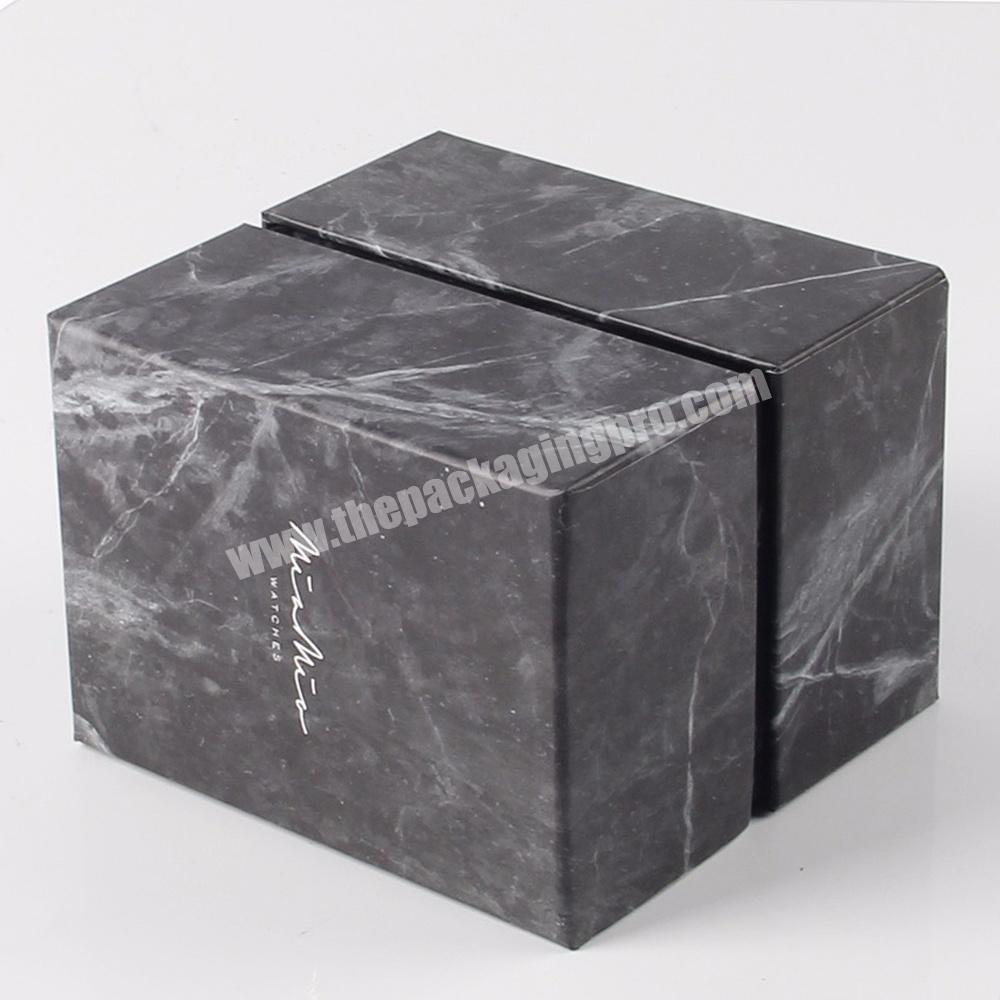 black matte square empty small cardboard cosmetic gift packaging marble paper boxes